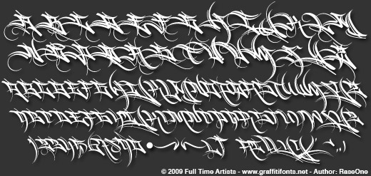 Harway Graffiti Typeface sample alphabet