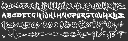 Ruckus Graffiti Font Sample Alphabets Symbols